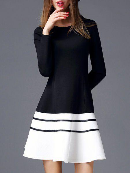 Shop Midi Dresses - Black-white Cotton-blend Long Sleeve Color-block Crew Neck Midi Dress online. Discover unique designers fashion at StyleWe.com.