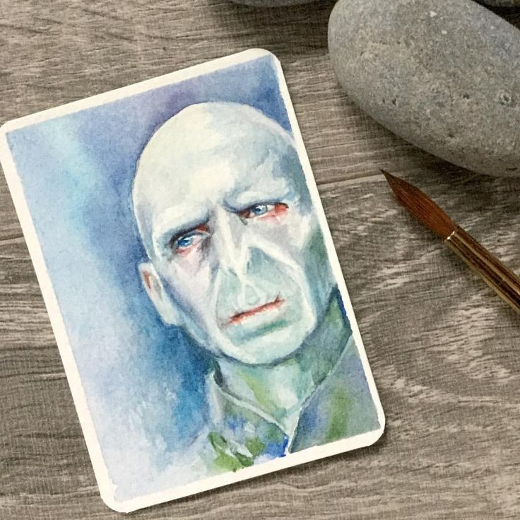 """Daily painting #46 is #hewhoshallnotbenamed ... another itty bitty #potterportrait Watercolour 2.5"""" x 3.5"""". . Sold.  #voldemort #harrypotter #watercolor #aceo #atc #illustration #painting #artistsoninstagram  #ralphfiennes #potterportrait  #christyobalek #tinypainting #muggle #instaart #instadaily #wizard #miniature #miniatureportrait #dailypainting #paintingaday #ckont #canadianartist #australianartist @thesarahbyrd"""