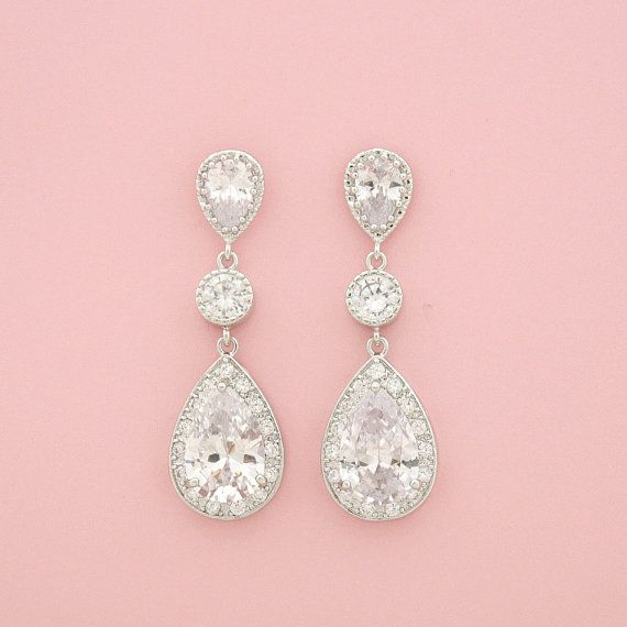 Bridal Crystal Earrings Wedding Jewelry Silver by poetryjewelry
