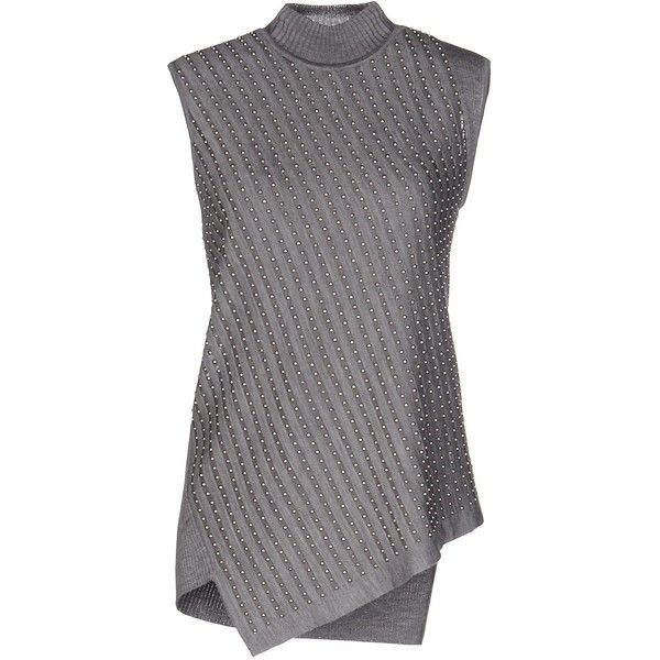 Roberto Cavalli Turtleneck ($210) ❤ liked on Polyvore featuring tops, sweaters, grey, sleeveless sweater, turtle neck sweater, gray wool sweater, gray sweaters and grey sweaters