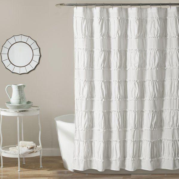 Burkhalter Solid Color Single Shower Curtain Hooks Ruffle Shower Curtains White Shower Curtain Lush Decor