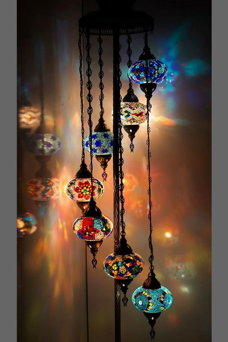 """Gorgeous Chandelier. Moroccan Mosaic Floor Lamp. Handmade in Turkey. Height : Approx 140cm (55""""). Globe Diameter : 12cm (4.7""""). Mosaic Glasses & Beads Glued To Glass Globes. Antique Brass Color Metal Body. On/Off Switch. US Compatible. #moroccanfloorlamp #lighting #moroccanlighting #mosaiclamp. *aff*"""