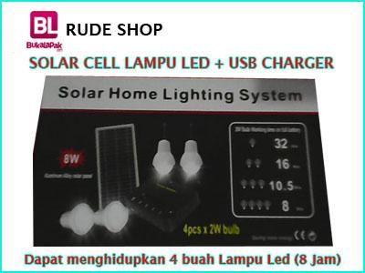 #jual Paket Solar Cell 4 #Lampu #LED dengan Usb Charger harga murah dan terjangkau