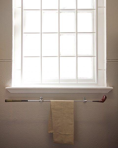 Golf club towel rack - for the #mancave bathroom! #decor