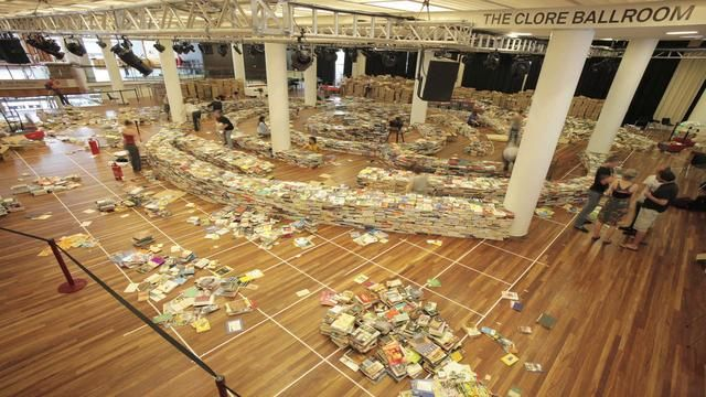 aMAZEme: A Labyrinth Made from 250,000 Books by Christopher Jobson. A vast labyrinth of 250,000 books, entitled aMAZEme, was installed on The Clore Ballroom in the Royal Festival Hall between 31 July – 25 August, as part of Southbank Centre's Festival of the World with MasterCard.