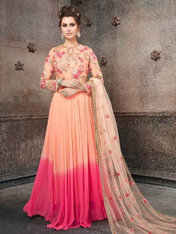 cd7a6221c3 Embroidered Georgette Abaya Style Suit in Salmon n Pink | Salwar ...