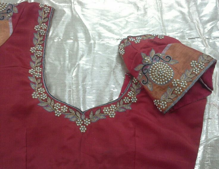 Pattu blouse with pearls work 7702919644