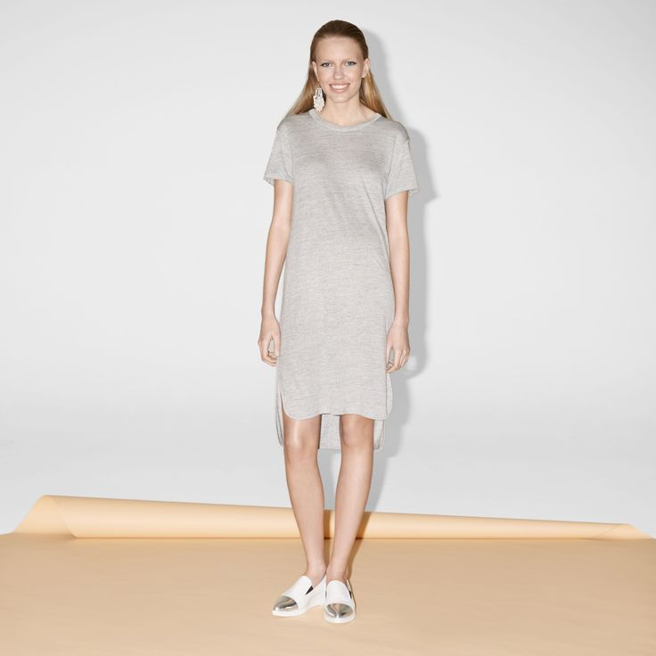 FWSS Antabus Dress is a jersey dress in a soft and drapey viscose with T-shirt sleeves, slits in the side seams and raw edge details at the cuffs and centre back.  http://fallwinterspringsummer.com/