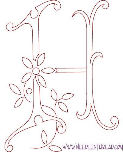 Monograma para bordados à mão:. Letra H - Needle'nThread com