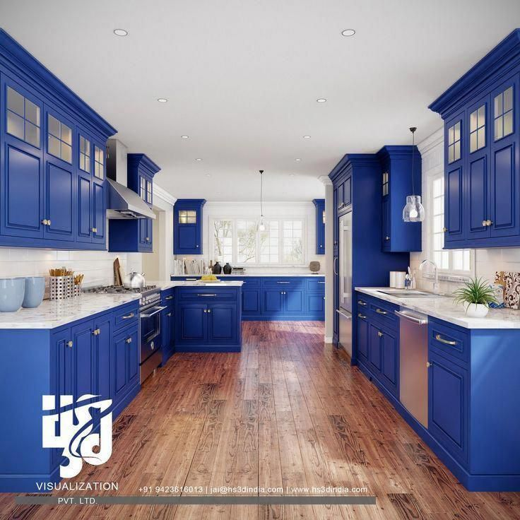 Contemporary Kitchen Cabinets In Dark Blue Colors Los Angeles Royal Blue Con Angeles In 2020 Country Kitchen Colors Dark Blue Kitchens Blue Kitchen Cabinets