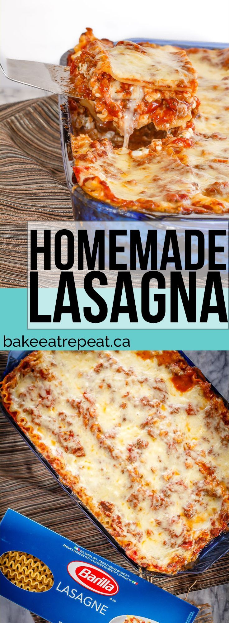 Homemade lasagna is one of my family's favourite meals. A thick and chunky meat sauce and lots of cheese, layered with tender pasta - perfect comfort food! #WorldPastaDay #ad