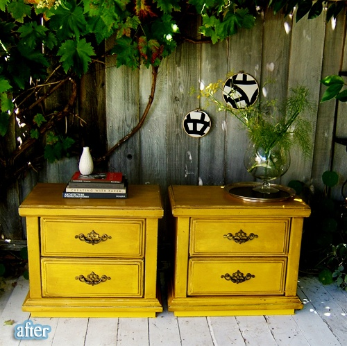End tables bought at a garage sale, painted yellow and distressed, with new handles.
