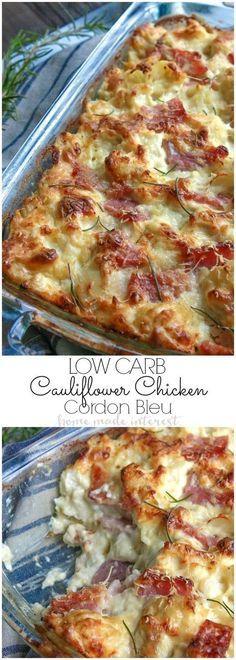 chicken cordon bleu recipe made with cauliflower, ham, chicken, covered in a creamy dijon sauce.