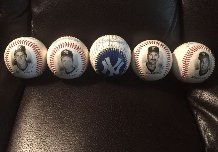 1996 set of Yankees baseball's distributed by Burger King. There is Bernie Williams Don Mattingly David Cone Paul O'Neill and one blue and white Yankees logo ball. They have not been played with or hit by a bat but have been displayed. They are very good condition minimal wear   eBay!