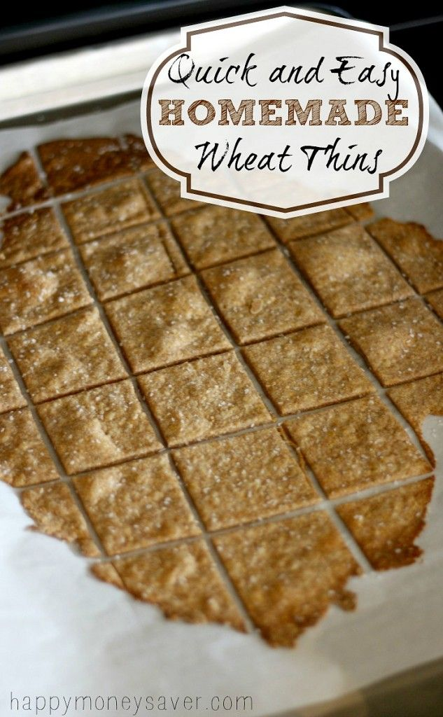 These Homemade Wheat Thin Crackers take about 10 minutes to make, taste better than store bought and are made with real ingredients that you can actually pronounce.  happymoneysaver.com
