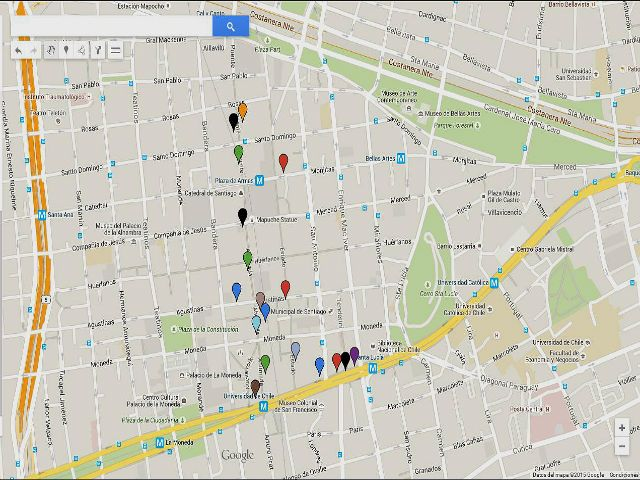 mapa de multitiendas de santiago de chile