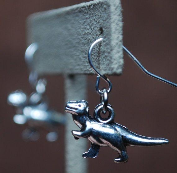 TRex earrings by AbandonedWarehouse on Etsy #dinosaur