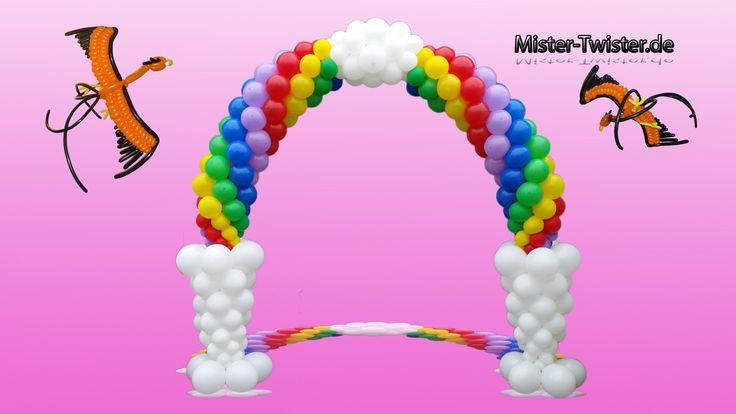 195  Balloon Rainbow Arch, Decoration, Birthday, Ballon Regenbogen, Ballon Bogen, Dekoration, Geburtstag