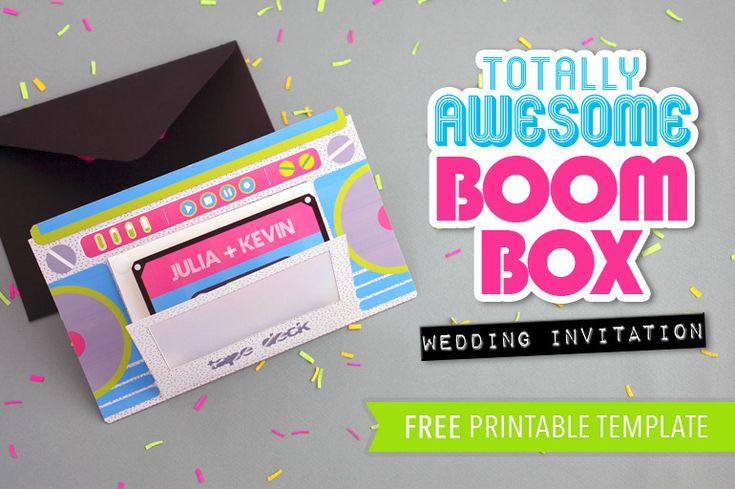 Totally awesome and totally FREE boom box #wedding invitations from #DownloadandPrint! Rock on! http://offbeatbride.com/2014/10/boom-box-wedding-invitations#.VDRkWjGNl9o.facebook