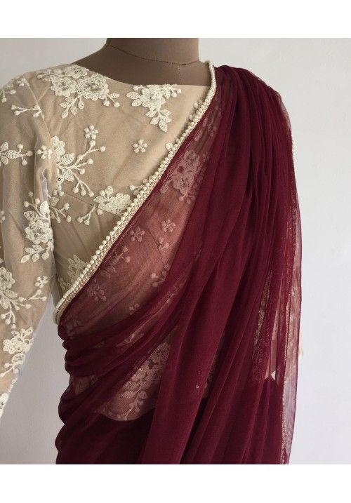 The Peach Project - Summer Sultry Sari Maroon net sari with pearl trimming that is your answer to sultry summer evenings.