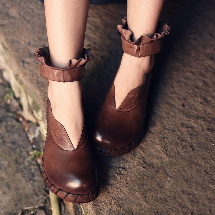 春レディースパンプスカーキ手作りレディース靴ローズレッド本革5センチヒールウェッジレディーメアリージェーンの靴女性アンクルストラップ(China (Mainland))