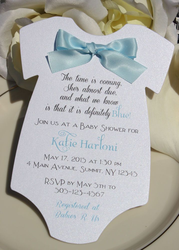 clever baby shower invitation wording%0A Baby Shower Invitation for Boy in Shape of Onesie with Blue Satin Bow
