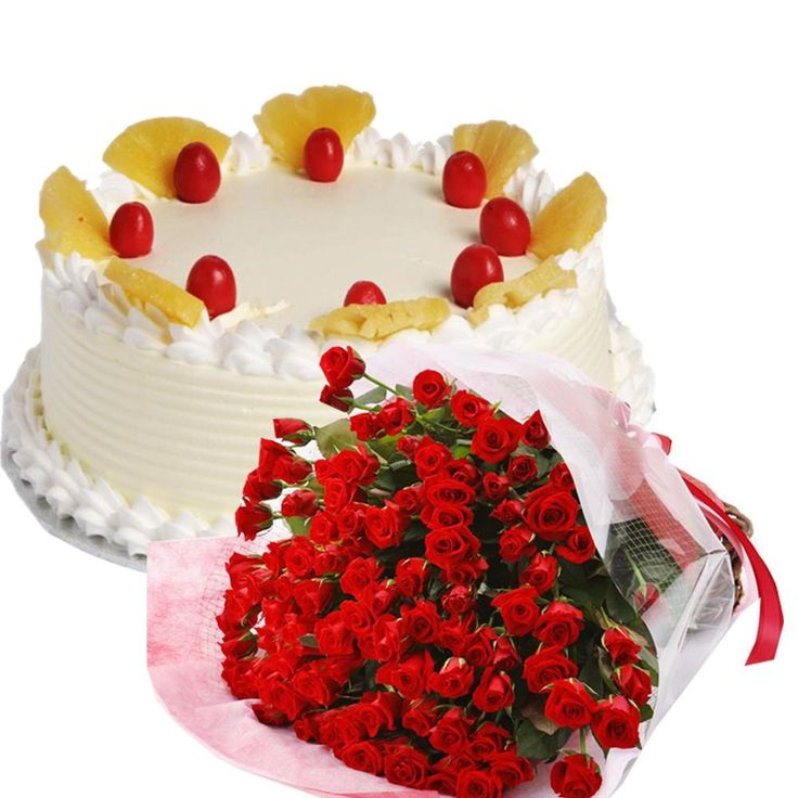 Pine apple cake and red roses bunch combo