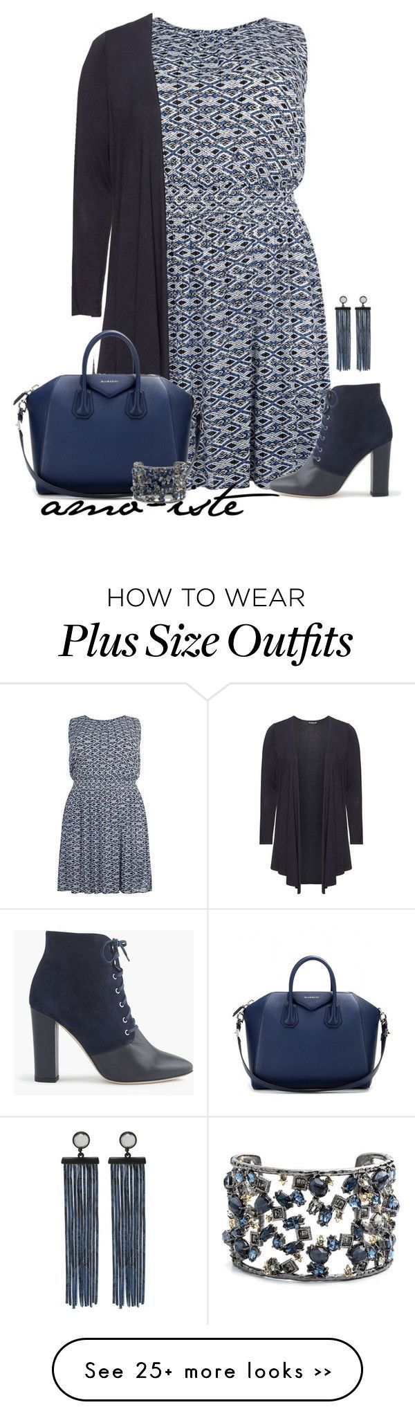 """""""Blue & Grey - Plus Size"""" by amo-iste on Polyvore featuring Samoon, J.Crew, Givenchy, Alexis Bittar and Marc by Marc Jacobs"""