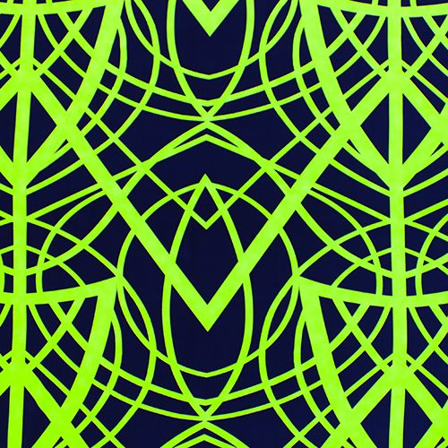 "Neon Green Cross Lines on Navy Blue Peach Skin Fabric - Neon green color color bold, big crossed line designs on a deep navy blue color peach skin fabric. Peach skin fabric has a soft brushed finish, does not wrinkle, and is perfect for dresses, top, and more!  Pattern has a 23 1/2"" repeat.  Please note that lines are a true, bright neon green color.  ::  $6.50"