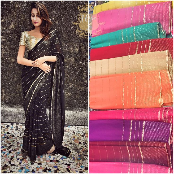 Pure georgette Saree with golden weaving strips pick any colour of your choice To purchase this product mail us at houseof2@live.com  or whatsapp us on +919833411702 for further detail #sari #saree #sarees #sareeday #sareelove #sequin #silver #traditional #ThePhotoDiary #traditionalwear #india #indian #instagood #indianwear #indooutfits #lacenet #fashion #fashion #fashionblogger #print #houseof2 #indianbride #indianwedding #indianfashion #bride #indianfashionblogger #indianstyle…