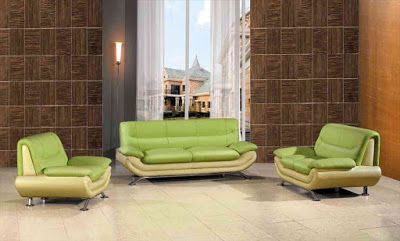 Green furniture in living room