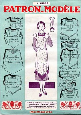 Pattern Draft From Mid 1930's: French Tablier This Is Beautiful!