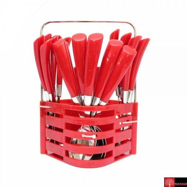 Red Forest Cutlery 25 Pcs Set Solid Red
