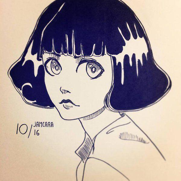 ink Girl By Jamcara by Jamcara on DeviantArt #manga #anime #ink #sketch #illustration #drawing #dibujo #sketch #art