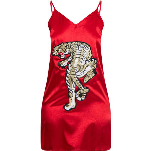 Jane Red Satin Applique Slip Dress (110 BRL) ❤ liked on Polyvore featuring dresses, slip dress, satin dress, red satin dress, red day dress and applique dress
