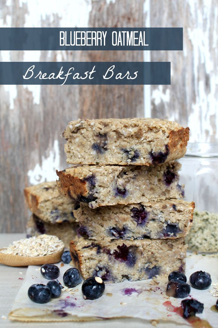Blueberry Oatmeal Breakfast Bars - loaded with #protein and healthy fats, and made with sprouted flour, these #Vegan bars are good for any time of day!