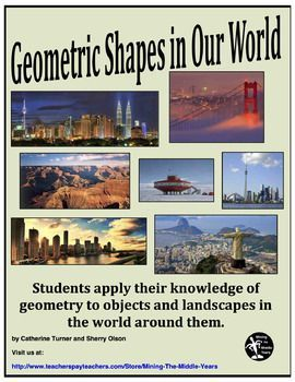 Geometry, Geometry solids, Geometric shapesThis Geometry package can be used in two ways:-as a culminating activity for a basic geometry unit on terms and shape recognition for elementary grades.-or as a review of term and shape recognition before embarking on more advanced Geometry for middle school students.Both PowerPoint presentations show real world images and objects for students to analyze, and then identify and classify them in Geometric terms.
