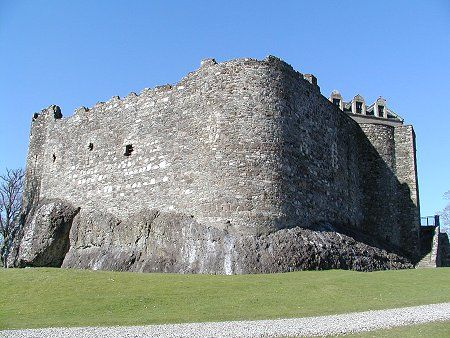 Dunstaffnage Castle, In Argyle, 3 miles north of Oban. Probably first  built during the kingdom of Dalriada around 600 AD  Held by Clan MacDougall until 1249 when it was taken by Robert the Bruce. Then held by Clan MacArthur until the great disaster of 1470, when it transferred to the Campbells who technically hold it today.