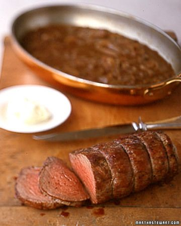 """Beef Tenderloin With Shallot Mustard Sauce - Martha Stewart Recipes  Another pinner said: """"Beef Tenderloin w/ shallot mustard sauce. i PROMISE you...this is THE best recipe you will ever make. it's the sauce really. it will be your new go to dinner for all holidays."""