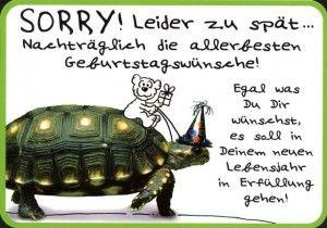 Lustige Postkarten Sprüche – Sorry!Leider zu spät … Nachträglich die allerbesten Geburtstagswünsche!