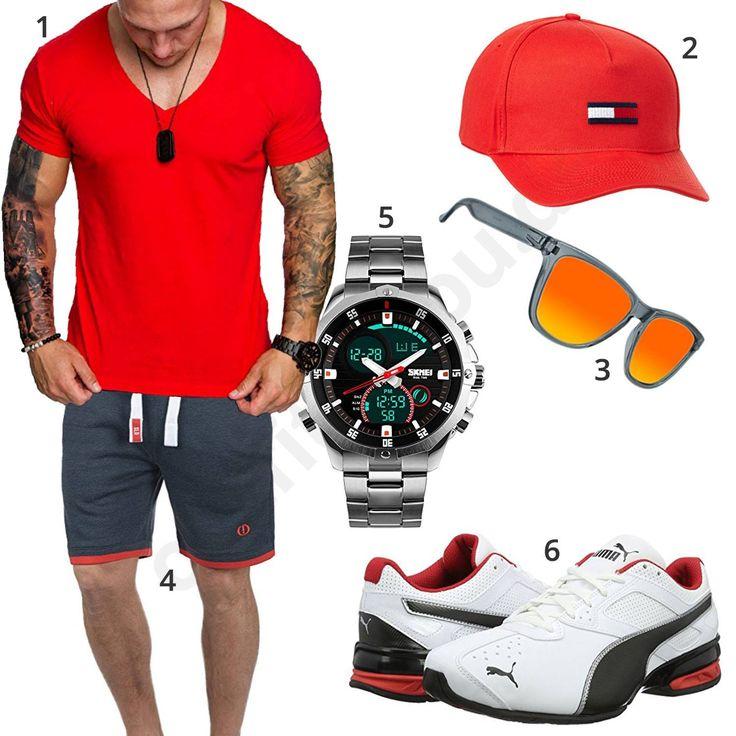 Cooler Sommer-Style für Männer mit Amaci&Sons Shirt, Tommy Hilfiger Cap, Puma Sneakern, schicker Armbanduhr, Solid Shirt und oranger Sonnenbrille.