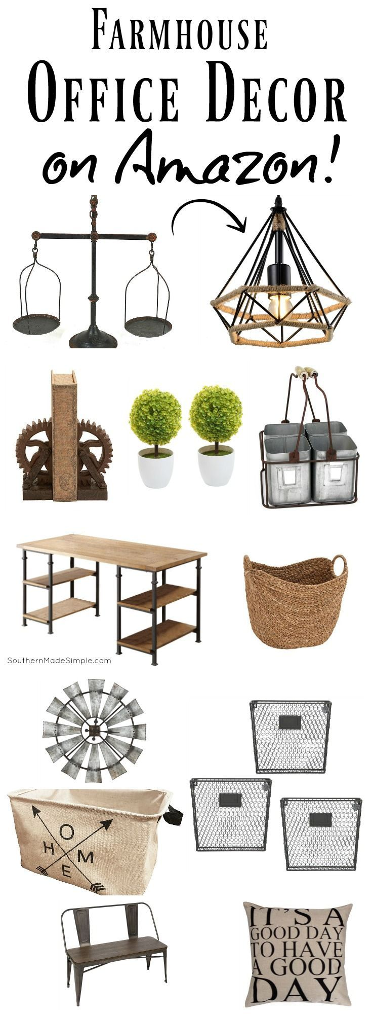 Farmhouse Fixer-Upper inspired finds for the office...and all available on Amazon! #farmhouse