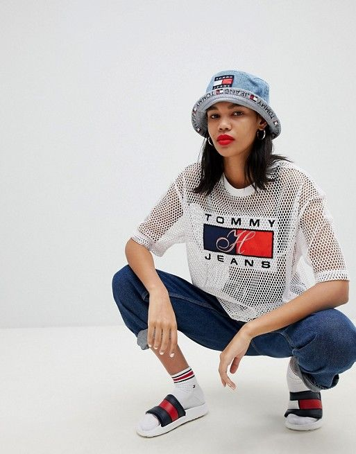 37c15ffa Tommy Jeans 90s Capsule 5.0 Logo Mesh T-Shirt | TOP | Tommy jeans ...