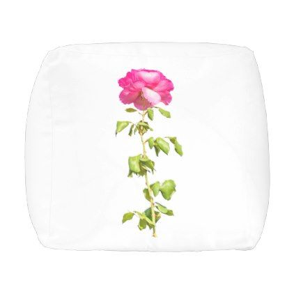 Pink Rose Photo Outdoor Pouf - rose style gifts diy customize special roses flowers