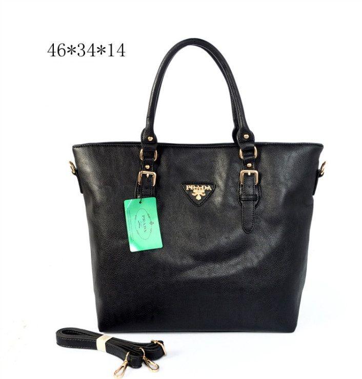 Prada Soft Calfskin Tote Black [Prada-0570] - $99.00 : Prada Outlet Online USA | Prada Handbags,Shoes,Sunglasses