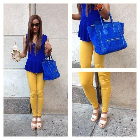 Mustard Pants Royal Blue Top Fashion Pinterest