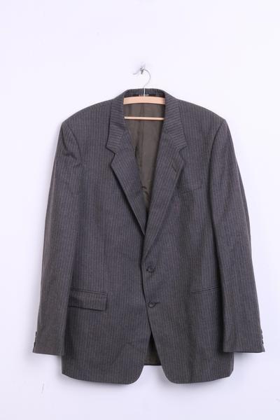 DAKS DO London Mens 16 XL Blazer Top Suit Striped Dark Green Wool - RetrospectClothes