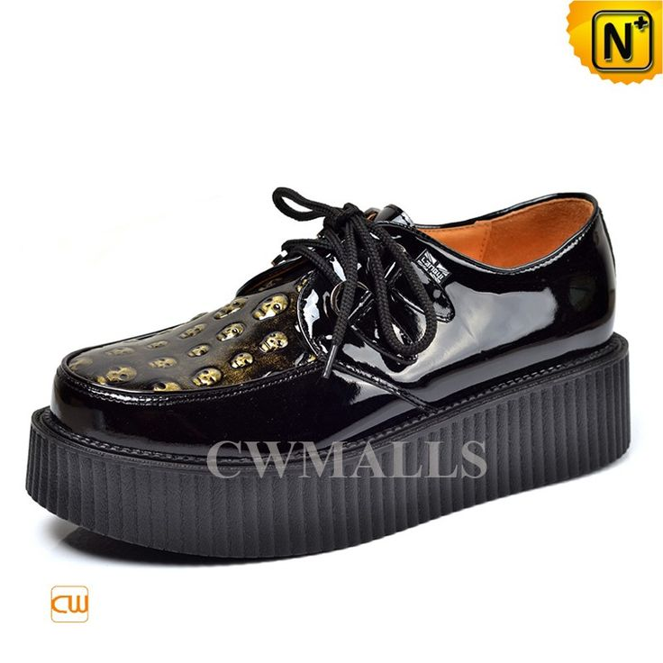 CWMALLS Mens Creeper Shoes Platform Shoes CW721613 Fashion black leather platform shoes for men, finished with high quality full grain cowhide, detailed with skull patterns in front, classic lace-up styling, these leather creeper shoes are good combination of comfort and style. www.cwmalls.com PayPal Available (Price: $197.89) Email:sales@cwmalls.com