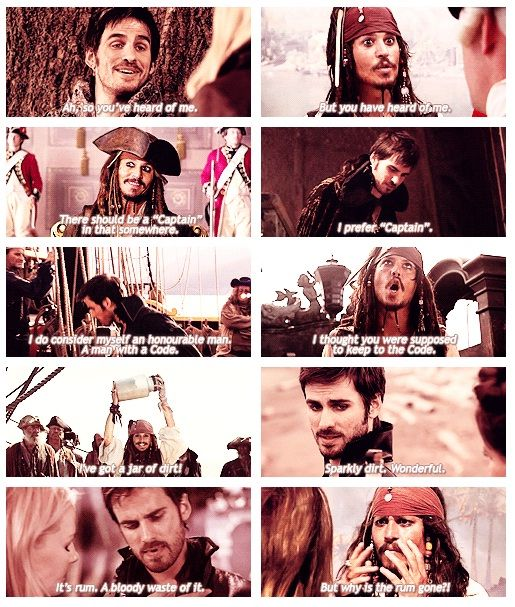 Captain Hook from Once Upon A Time and Captain Jack Sparrow. Two very hot Captains with many similarities