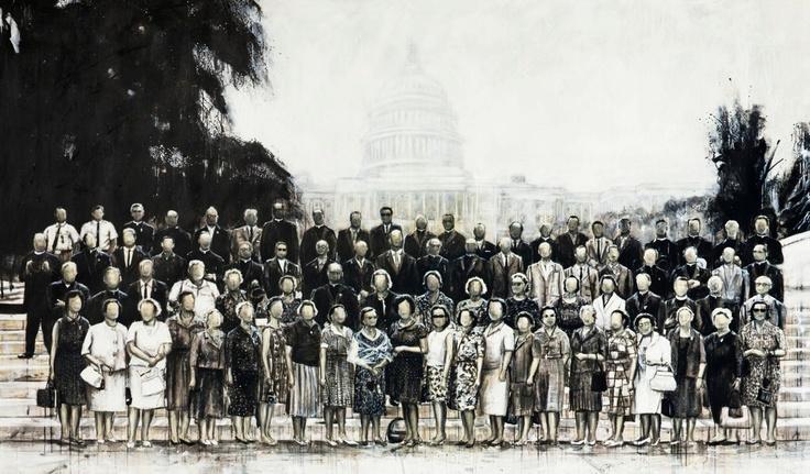 Vincenzo Todaro, (un)memory #081 - Capitol Hill group photo, olio e acrilico su tela di juta, 290X170, 2010